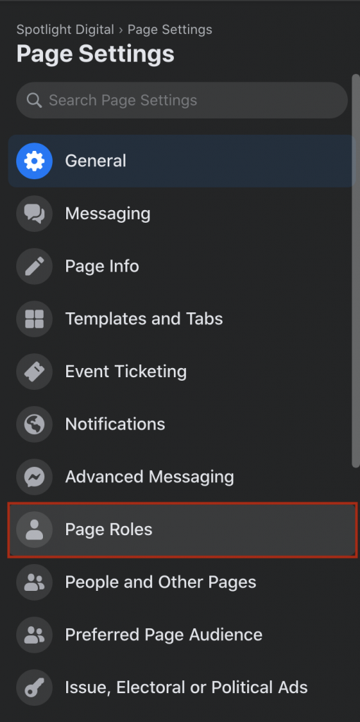 page roles setting location on new 2020 facebook business pages