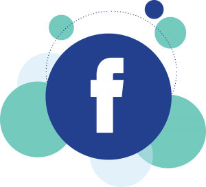 the facebook logo with green background bubbles
