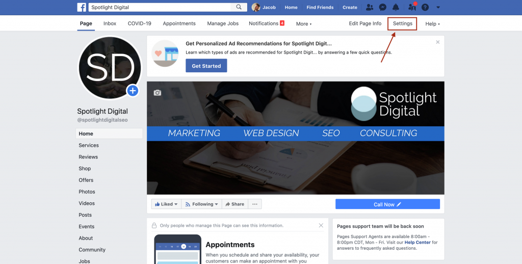 the location of the facebook business page settings button on old facebook