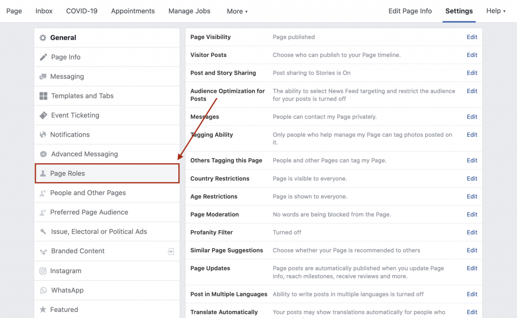 location of page role settings on old facebook business page