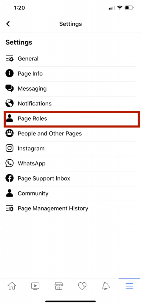 location of page roles settings on facebook mobile