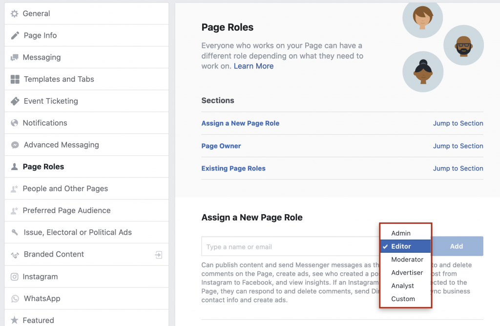 selecting page role level on a facebook business page