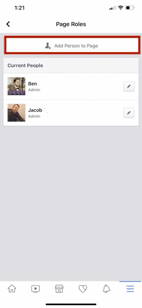 adding a user to facebook page on mobile