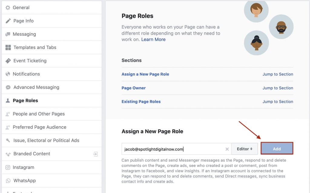 adding a new user role to facebook page